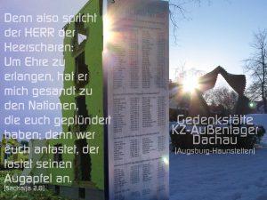 KZ- größtes Außenlager Dachau - denn wer euch antastet, der tastet seinen Augapfel an. - Sacharja 2,8- -Fotomontage: Christine Danzer- go 4 jesus