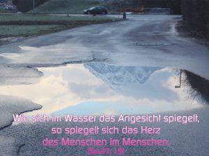 Spiegelung in einer Pfütze - Bibelzitat Sprüche 27,19 - Wie sich im Wasser das Angesicht spiegelt so spiegelt sich das Herz im Menschen - Christine Danzer - go 4 jesus