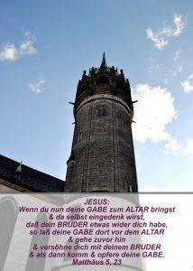 Wittenberg - Schlosskirche - Kirchturm- Christine Danzer - go 4 Jesus -Matthäus 5, 23 Bibel