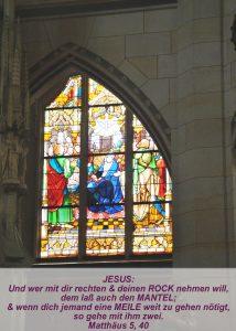 Wittenberg - Schlosskirche - Fensterbild Himmelfahrt Jesu-Christine Danzer - go 4 jesus - Matthäus 5,40 - Bibel