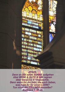 WIttenberg 14 - Schlosskirche -Fensterbild Altar - Matthäus 5, 45-46 - Christine Danzer - go 4 jesus