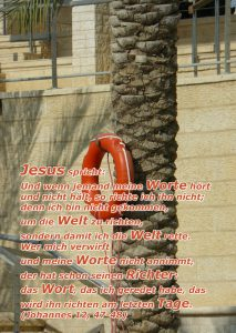 Palme am Jordan mit Rettungsring - Joh. 12, 47-48 - Walter Hagel -go4jesus