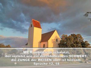 Kirche im Abendlicht-In treulosen Lippen steckt ein böser Fallstrick; -Christine Danzer - go4jesus