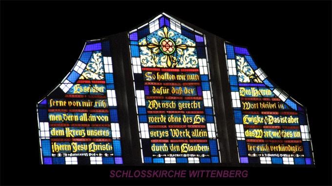 Bibel- Bild -Wittenberg II- Schlosskirche - Fensterbild - Jesus spricht -Bibel