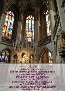 Wittenberg- Schlosskirche - Altar mit Jesusstatue- Christine Danzer - go 4 jesus - Matthäus 5,34 - Bibel