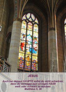 Wittenberg - Schosskirche - Geburt Jesus Fensterbild - Christine Danzer - go 4 jesus - Matthäus 5, 36 - Bibel