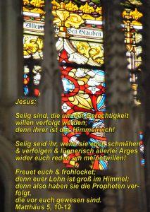 Wittenberg - Glasbild hinter dem Altar- Christine Danzer - go 4 jesus - Matthäus 5, 10-12 -Bibel