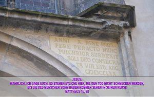 Inschrift rechts oberhalb der Thesentür - Wittenberg - go 4 Jesus - Jesus lehrte - Bibel - Christine Danzer