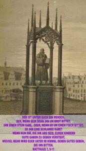 Bibelzitat,Bild der Lutherstatue- Luthermuseum in Wittenberg - go 4 jesus - Jesus lehrte - Bibel - Christine Danzer
