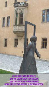 Bibelzitat, Katharina Bora- Statue -Wittenberg- Lutherhaus - go 4 Jesus - Jesus lehrte - Bibel - Christine Danzer