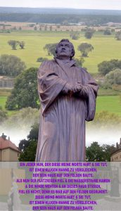 Bibelzitat,Lutherstatue vor der Elbe - Lutherhaus - Wittenberg - go 4 jesus - Jesus lehrte - Bibel - go 4 Jesus - Jesus lehrte - Bibel - Christine Danzer