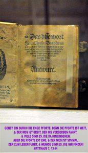 Bibelzitat,Zwingli- Buchausschnitt Luthermuseum - Wittenberg - go 4 jesus - Jesus lehrte - Bibel- Christine Danzer
