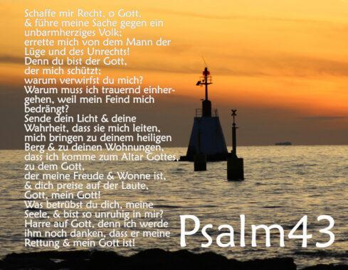 Bibel, Leuchtturm im Sonnenuntergang mit Psalm 43, Foto: Thomas Hoffmann, go 4 Jesus